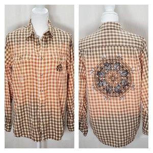 Wrangler Distressed Plaid Long Sleeve Shirt size S